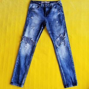 Zara Premium Wash Trf Distressed Boyfriend Jeans